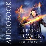 Audiobook cover illustration for The Burning Tower