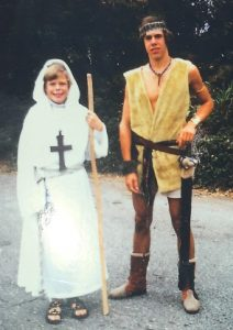 Author and his younger brother, dressed in costumes, 1978